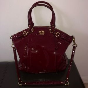 COACH MADISON LINDSEY PATENT LEATHER SATCHEL